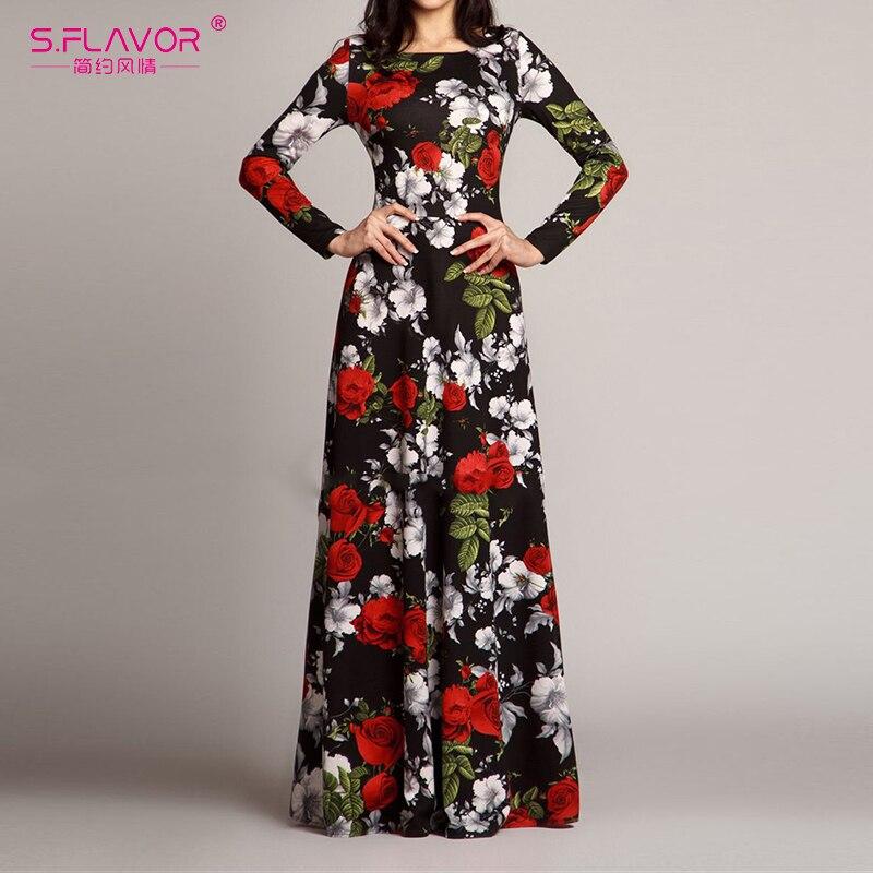 S.FLAVOR Women Elegant O Neck Long Dress Casual Long Sleeve Vintage Floral Printed Maxi Dress Autumn Winter Slim Party Vestidos