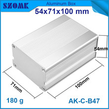 1 piece free shipping heatsink silver aluminum housing enclosure for electronic pcb broad 54*71*100mm