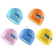 Новая шапочка для плавания с рисунками из искусственной кожи, Детские Водонепроницаемые шапочки для купания с изображением рыбы, животных, защита для ушей, капюшон для подводного плавания INY