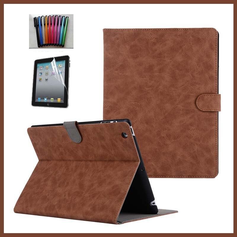 Case For Apple iPad 4 iPad 3 iPad 2 Case 1:1 Original Design Stand funda PU Leather Case For iPad 2 3 4 Case Cover +film+pen apple ipad ipad 2 3 4 air2 min2i