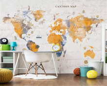 beibehang Custom fashion modern stereo classic wallpaper American retro old art map background papel de parede papier peint
