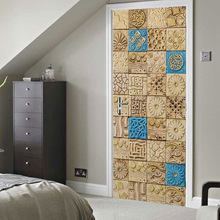 Arabian style Tile creative 3d door sticker Wooden home decoration PVC waterproof self-adhesive wallpaper customize