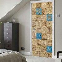 Arabian style Tile creative 3d door sticker Wooden door home decoration sticker PVC waterproof self adhesive wallpaper customize