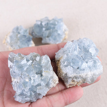 4pcs Natural blue crystal cluster original stone block home bare  decoration material