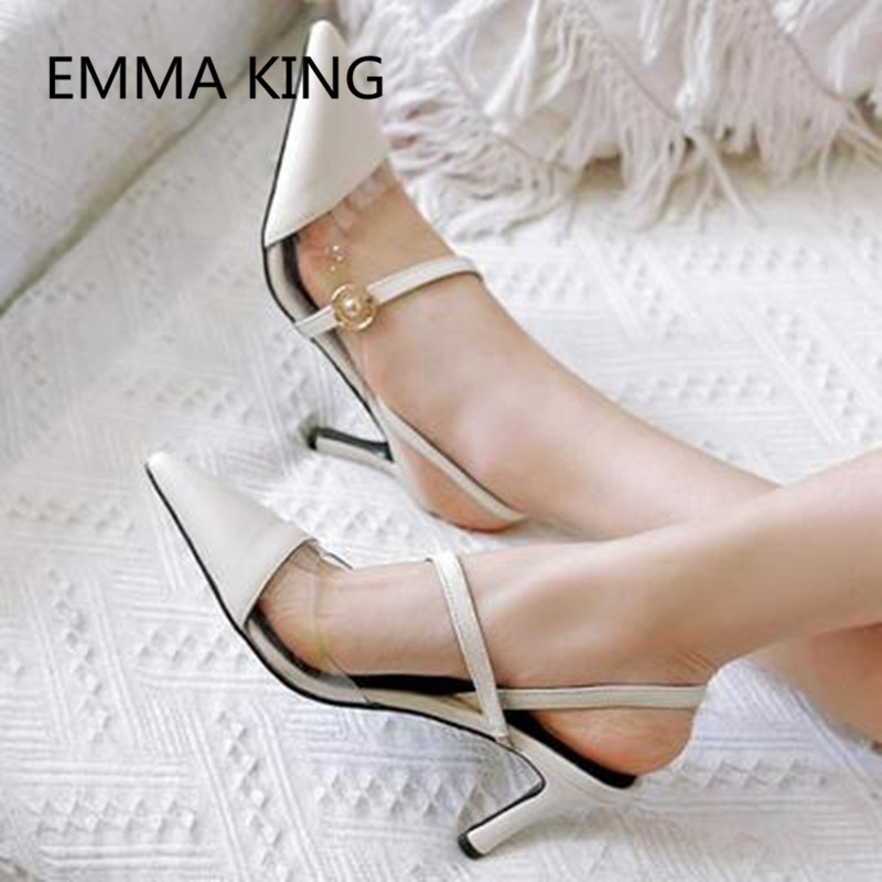 Brown Vintage Leather Women's Pumps Pointed Toe Slip On Ladies PVC Transparent Slingbacks Shoes Woman Sexy Thin High Heels Pump - 2