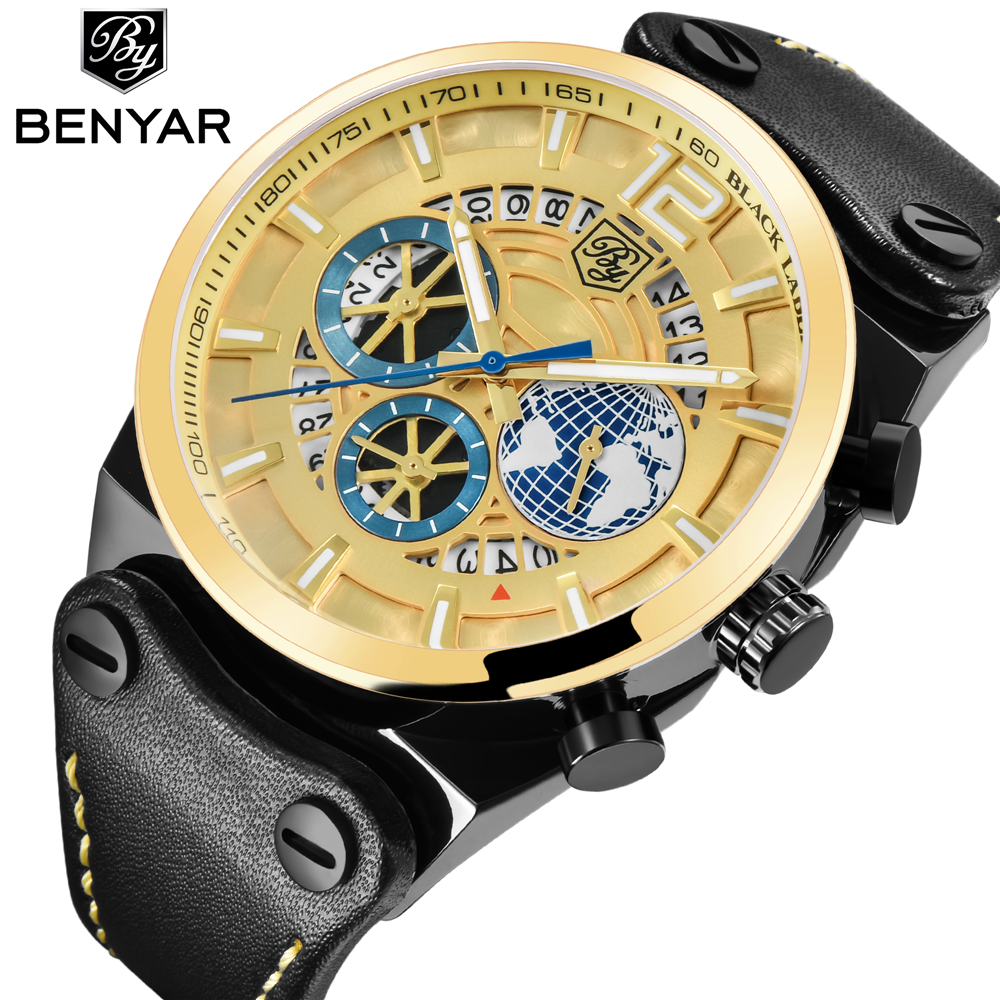 BENYAR Brand Luxury Chronograph Sport Mens Watches Fashion Military Waterproof Quartz Watch Clock Relogio Masculino Dropshipping benyar watch mens luxury brand quartz blue watches fashion business male leather wristwatch waterproof clock relogio masculino