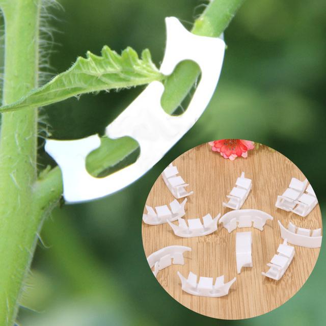 100pcs Plastic Plant Support Clip Fastener Plants Hanging Vines Vegetable Tomato Farming Plant Clip Greenhouse Gardening Tools