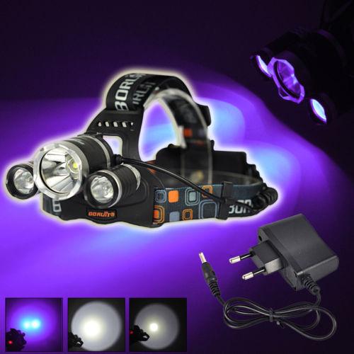 BORUIT 6000LM 3x XML T6 White+2R2 395nm UV LED Headlamp Head Light Torch+Charger sitemap 25 xml