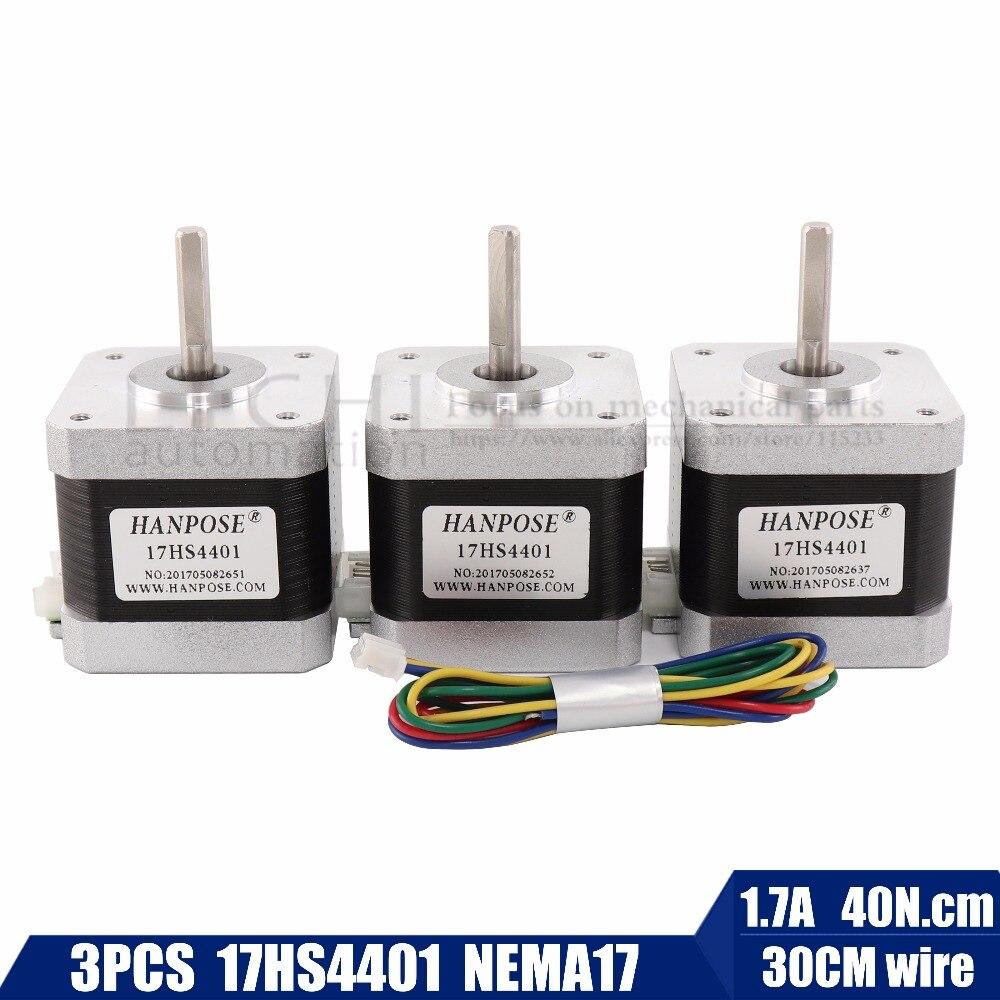 Бесплатная доставка 3 шт. NEMA17 Шаговые двигатели 42 Двигатель NEMA 17 Двигатель 42bygh 1.7a (17hs4401) двигатель 4-Ведущий для 3d принтер