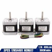 Free shipping 3PCS Nema17 Stepper Motor 42 motor Nema 17 motor 42BYGH 1.7A (17HS4401) motor 4-lead for 3D printer