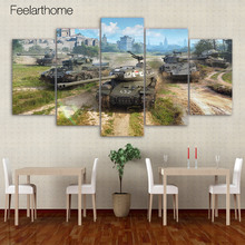5 piece canvas painting world of tanks game HD posters and prints canvas painting for living room free shipping XA-2016A