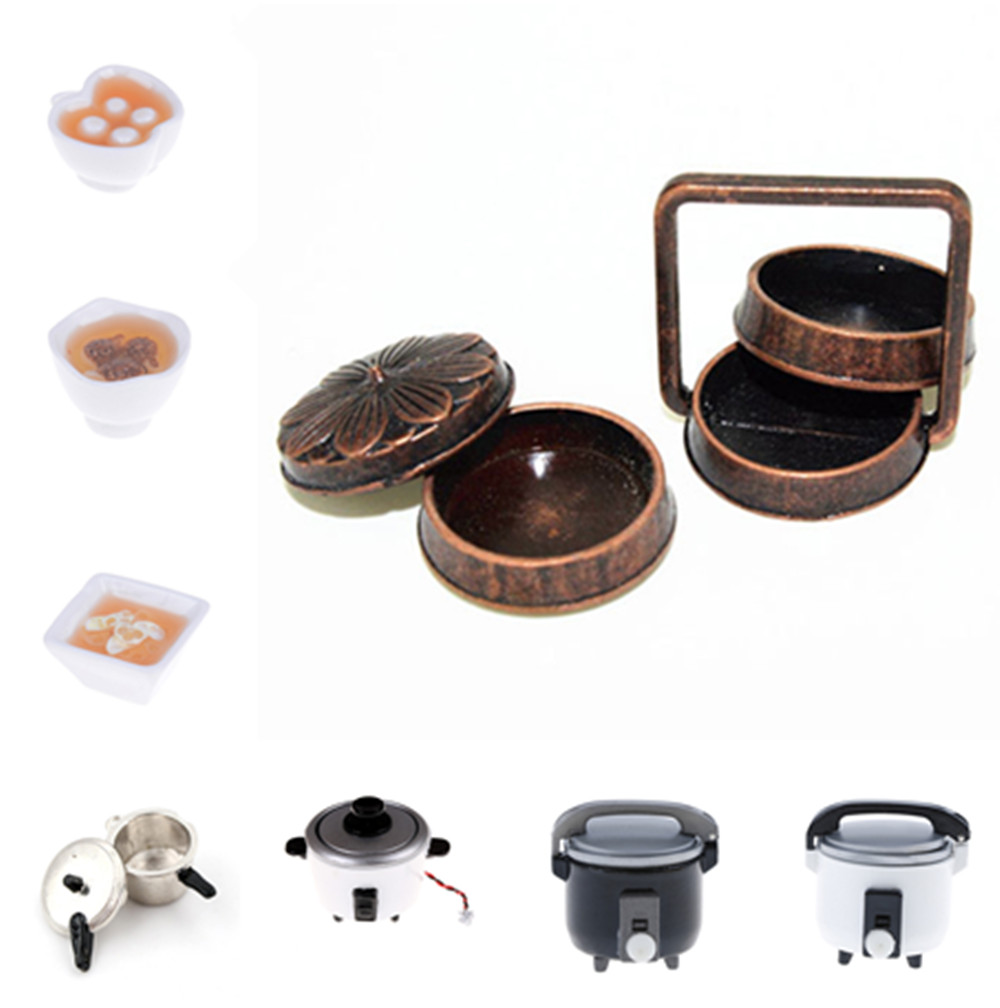 Scene Props To Play Rice Cooker Dollhouse Miniature Accessories Pocket Model Doll House 1:12 Scale Kitchen Furniture