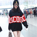 Female Brand knitted Sweaters Long Autumn Winter Pullovers Women Fashion Hit Color Letter Print Bat Sleeve Sweater Sueter Mujer