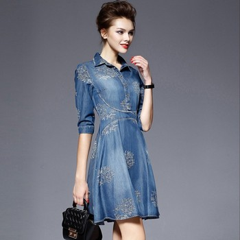 2019 New Runway Summer Women Fashion Luxury Embroidery dress Denim Elegant Vintage Blue Dresses Plus Size Vestidos robe 1