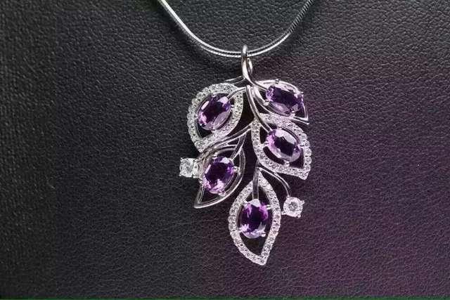 Pingente ametista naturais S925 Sterling silver gemstone Natural Pingente de Colar na moda folhas Elegantes mulheres do partido fine jewelry