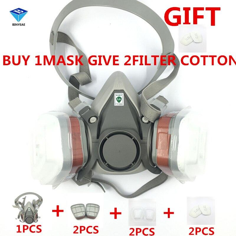 BINYEAE NEW 7PCS 6200 6001 2 Pcs Gift Filter Suit Respirator Painting Spraying Face Gas Mask