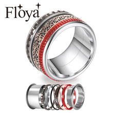 Floya Interchangeable Rings Stackable Womens Band Inlay Stainless Steel Fidget Arctic Symphony Spinner Ring