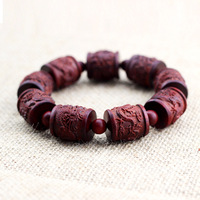 Factory Wholesale Supply Of Zambia Blood Tan Shuanglongxizhu Hand String Bracelet Beads Carved Wooden Crafts