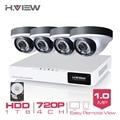 H.View 4CH CCTV System 720P HDMI AHD 4CH CCTV DVR 1 TB HDD 4PCS CCTV Cameras 1.0 MP IR Security Camera Surveillance System