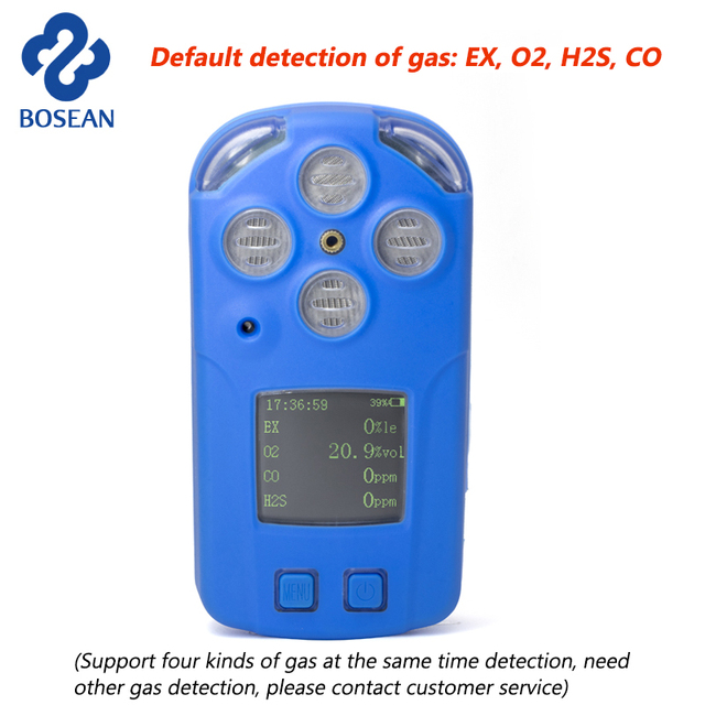 4 in 1 Multi Gas Detector Combustible Gas,Oxygen O2,Hydrogen Sulfide H2S,CO Gas Analyzer Monitor Industrial Gas Leak Detector
