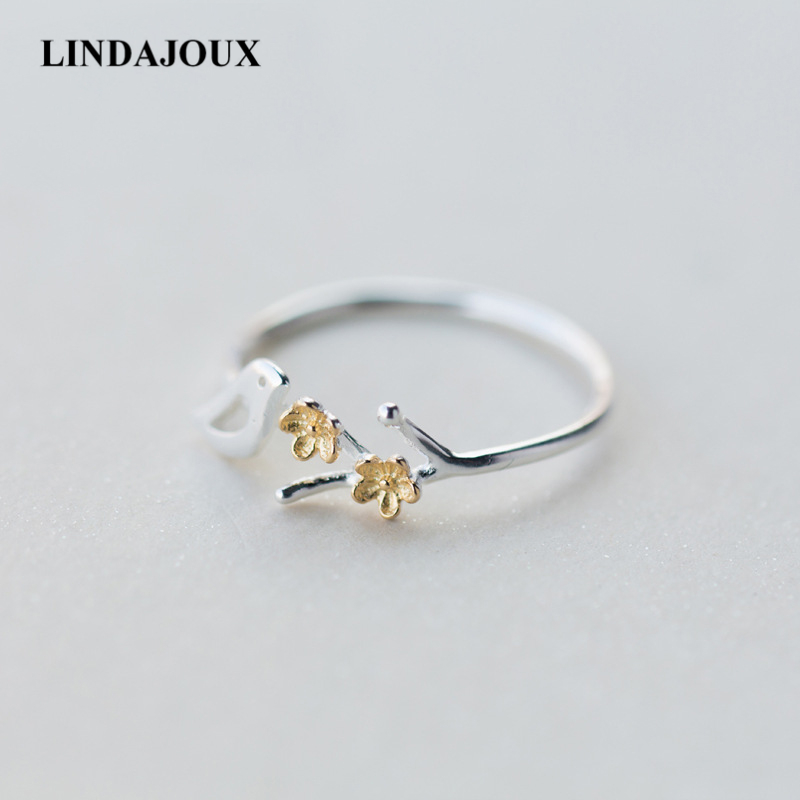LINDAJOUX 925 Sterling Silver Pretty Bird Standing Tree Open Ring For Women S925 Resizable Wedding Engagement Rings DropShipping