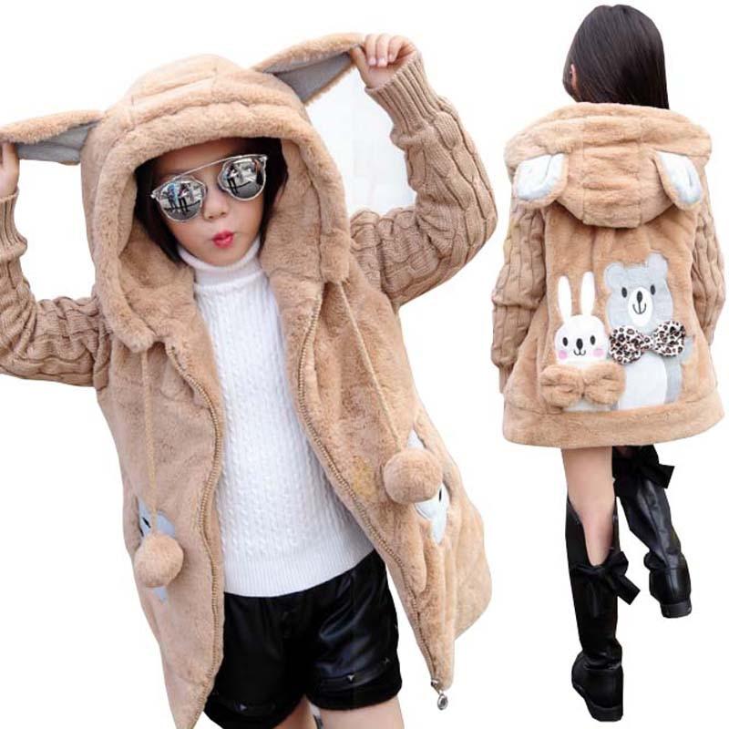 Baby Girls Jackets Coats Kids Cartoon Faux Fur Outerwear 2017 Fashion Winter Girl Hooded Warm Jacket Cotton Coat Girls Clothes