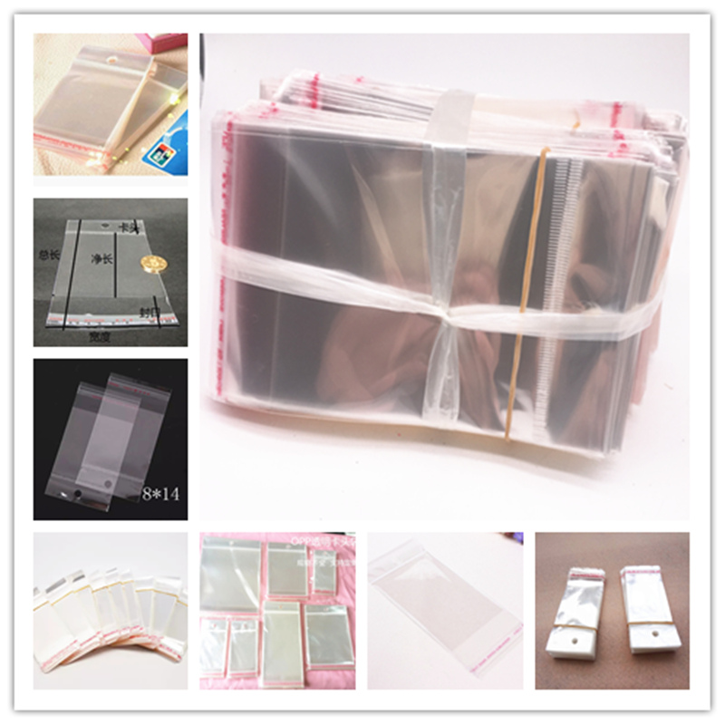 Wholesale 100pcs Clear Self Adhesive Seal Plastic Bags Transparent Resealable OPP Packing Poly Bags Pick Beads Hanging Holes