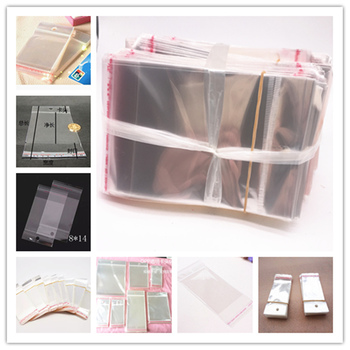 Wholesale 100pcs Clear Self Adhesive Seal Plastic Bags Transparent Resealable OPP Packing Poly Pick Beads Hanging Holes