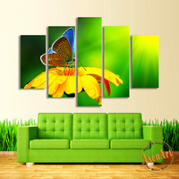 5 Panel Canvas Art Flower Butterfly Painting Green Canvas Painting HD Animal Wall Pictures For Bedroom