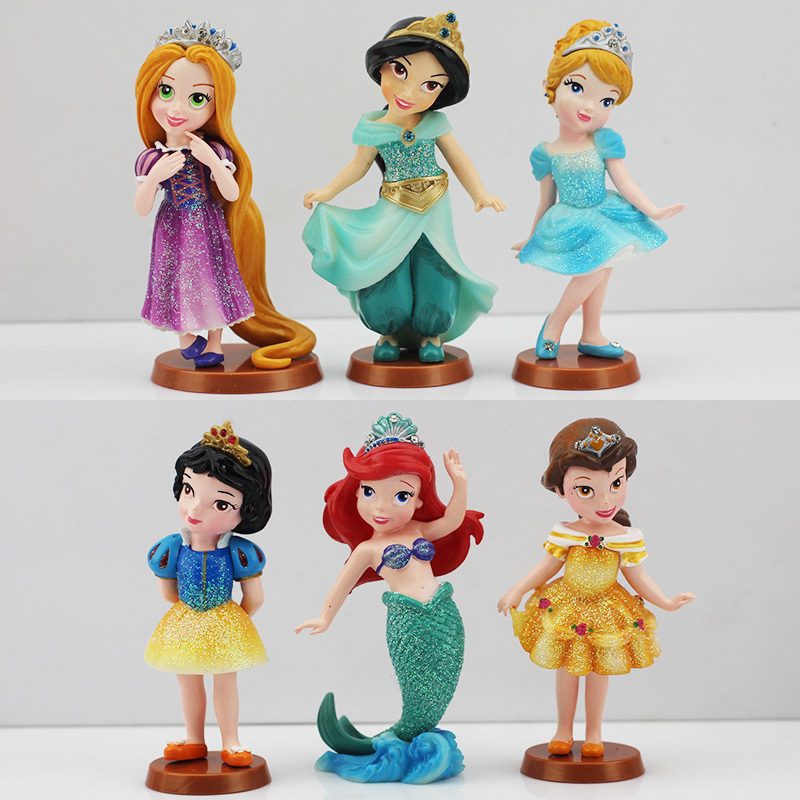 5sets/lot Snow White Princess PVC Figures Cinderella Rapunzel Jasmine Thinkbell Bella Ariel Toys Kunai Pet