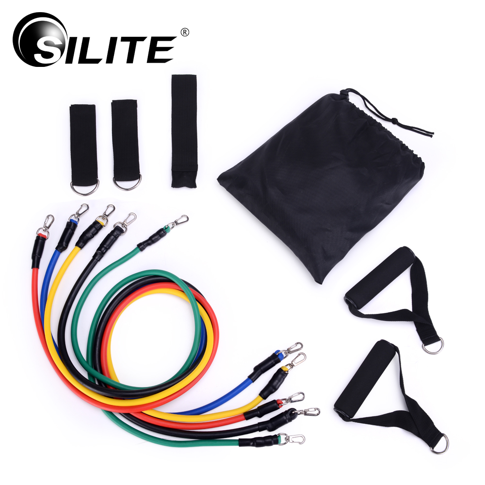 SILITE Fitness Equipments Workout Resistance Bands Latex 11pcs set Exercise Pilates Tubes Pull Rope Expanders Training Practical