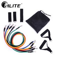 SILITE Fitness Equipments Workout Resistance Bands Latex 11pcs Set Exercise Pilates Tubes Pull Rope Expanders Training