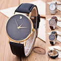 Fashion Simple Style Business Dress Wristwatch for Women Men Rose Gold Silver PU Leather Leisure Watch for Ladies Male OP001