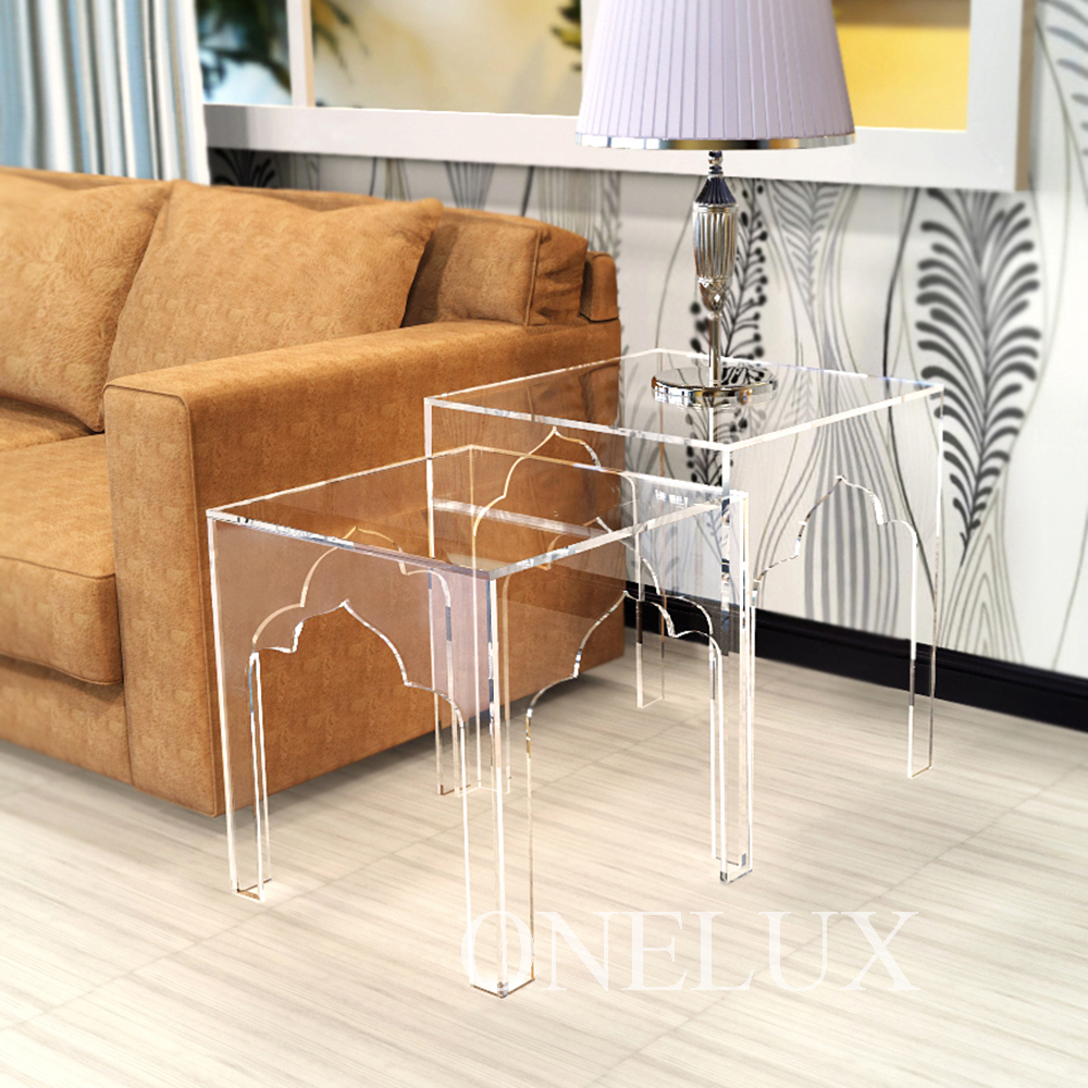 Lot) Engraved Acrylic Nesting Sofa Tables,lucite  Occasional Side Riser Table,plexiglass Small Furnitures From Reliable Table