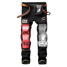2018 European and American Patchwork Jeans Fashion Mens Full Length Straight fit Denim Pants Brand Designer mens jeans(China)