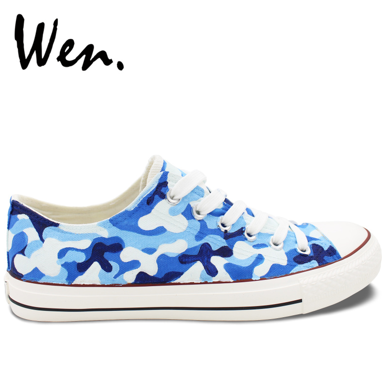 Wen Original Design Hand Painted Shoes Custom Navy Camouflage Pattern Low Top Casual Canvas Sneakers for Man Woman Presents wen mexican style skulls totem original design hand painted shoes for men woman slip ons custom canvas sneakers