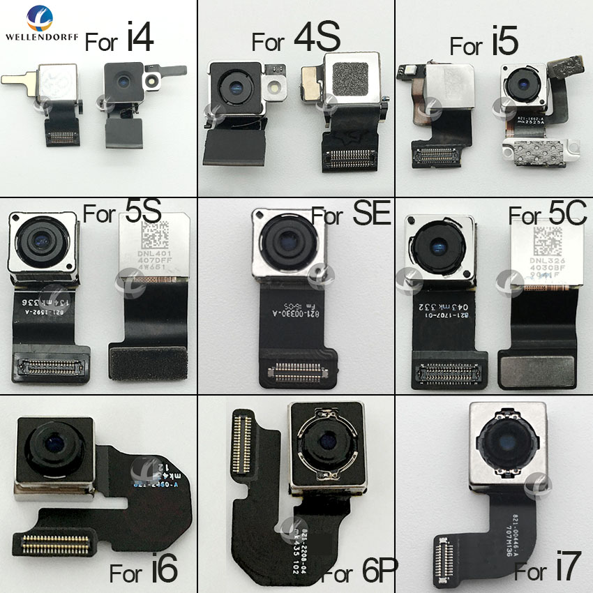 Original Back Camera For IPhone 4 4S 5 5S SE 5C 6 6S 7 8 Plus X XS XS Max XR XSM Rear Camera Flex Cable Ribbon 100% Tested OK