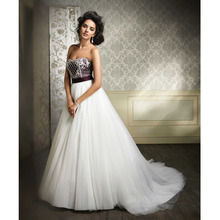 Custom Made Novia Ivory&Purple Tulle Beading Crystal Sash Wedding Dress Vestido De Casamento