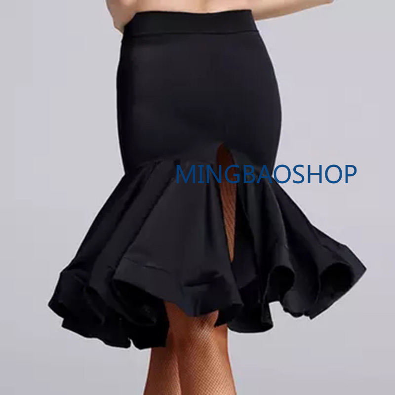 2019 Sexy Women Dance Dress New Style Latin Dance Costume Latin Dance Skirt Tango Samba Chacha Ballroom Split Skirt Black XL