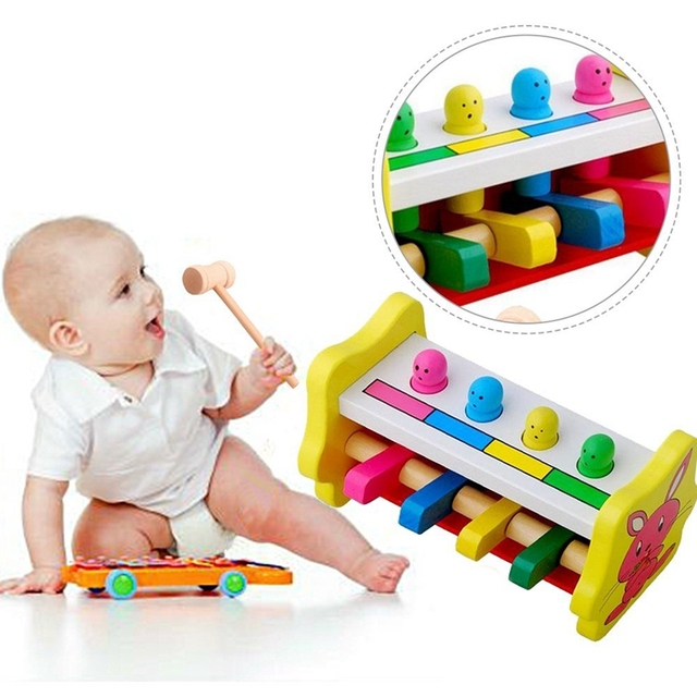 Wooden Knock Toy Educational Children's Hand-Eye Coordination Exercise wood toys Hammering Early Learning Educational pillar Toy