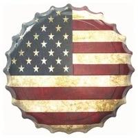 Vintage USA Flag Piwa Kapsel Plakietka Emaliowana Plate Metal Tablica Football Club Man Cave Tablica Metal Zaloguj Tin Plate Plakat Na Ścianie 40 cm