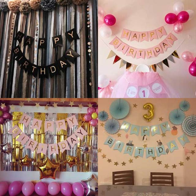 Happy Birthday Bunting Banner 1st Party Decorations Gold Letters Set Paper Flags Hanging Garlands
