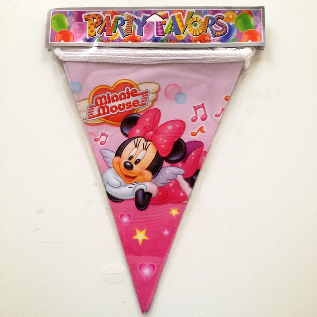 25m Set Minnie Mouse Banner And Flag Cartoon Theme Party For Kids Happy Birthday