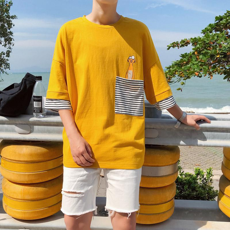 2019 hip hop style men and women striped pocket short sleeved T shirt loose half sleeved bottoming clothes