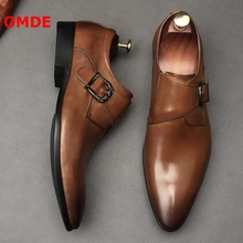OMDE Fashion Business Men Formal Shoes Pointed Toe Slip On Dress Leather Office Breathable Italian Wedding Shoe