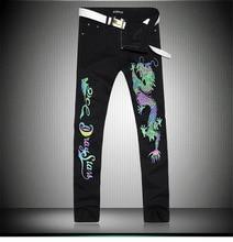 Горячие продажи человек Световой черный животных джинсы 1302