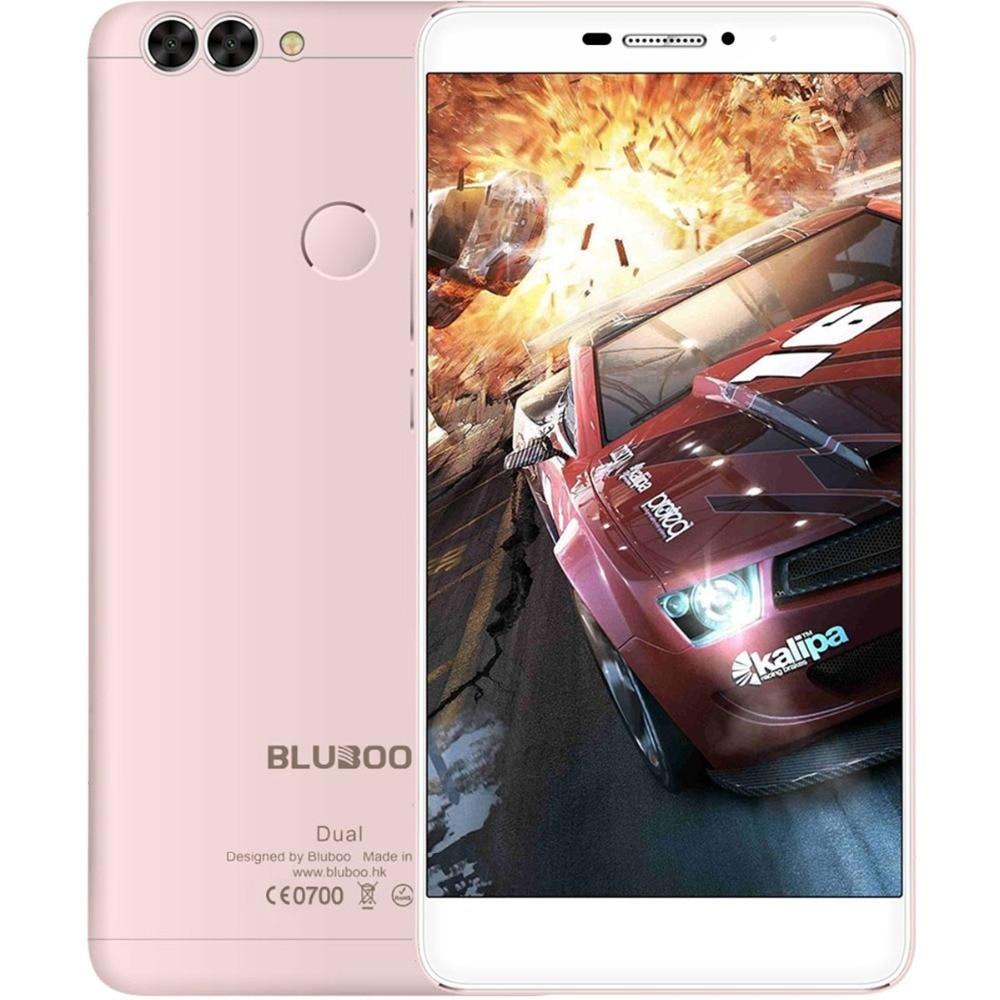 Цена за Bluboo двойной android 6.0 смартфон двойной задней камеры 5.5 дюймов 4 г mtk6737 quad core мобильного телефона 1.5 ГГц 2 ГБ + 16 ГБ 13.0mp телефон