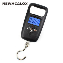NEWACALOX 110lb x 0.01lb Mini Portable Scale for Fishing Luggage Travel Weight Hanging Hook Scale Digital Scale 50kg