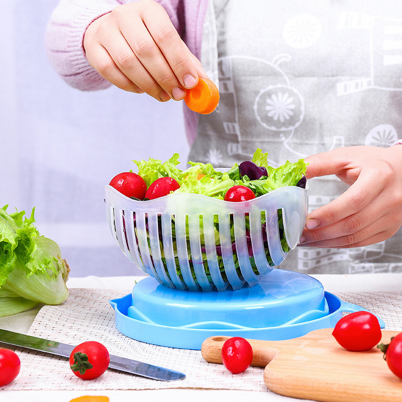 Salat Maker Cutter Schüssel Einfach Speed Schnell Hacken Slicer Obst Gemüse Chopper Küche Werkzeug Gadgets Cutter küche Zubehör