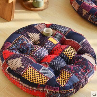 Coton et lin beau coussin de hanche tissu épais rond rétro balcon baie fenêtre seuil plancher de méditation - 3